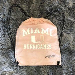 Pink Jansport Large pull string backpack